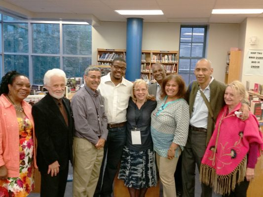 Poets and participants pose for a photo following the reading at the Ninth Dominican Book Fair, September 2015