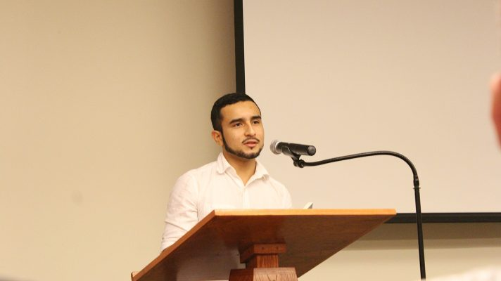 Poet Javier Zamora addresses students at Rutgers