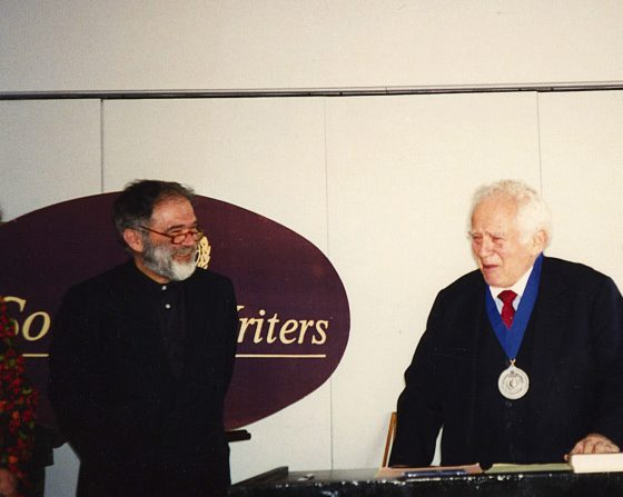 Founding President Hans Janitschek with legendary author Norman Mailer after awarding him the Society's Award of Excellence (2002).