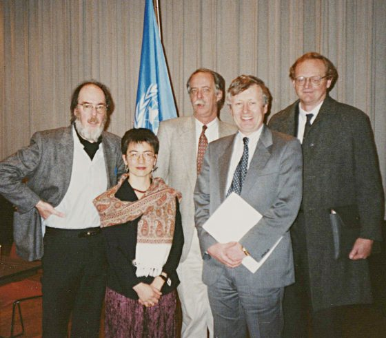 "Poets Eamon Grennan, Kimiko Hahn, William Matthews and representatives from the Permanent Mission of Ireland to the United Nations, gather in the Dag Hammarskjold Auditorium for ""Great Poets of the 21st Century"" reading."