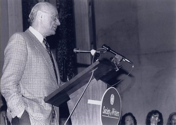 "Arthur Miller in 1990 at the UNSRC Society of Writers ""Writers Behind Bars"" reading, co-sponsored with PEN, where he received the Society's Award of Excellence. **"